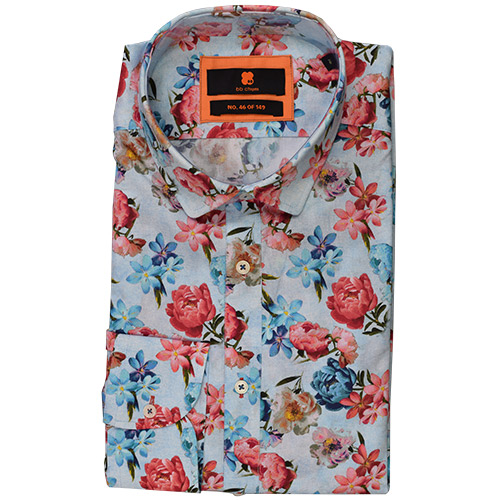 Overhemd Bloemen Boord.Bloemen Overhemd Heren Pioenroos Van Bb Chum Is Een Slim Fit Shirt