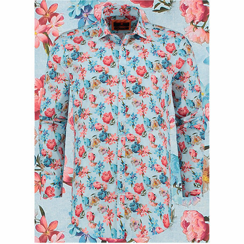 Bloemen Overhemd.Bloemen Overhemd Heren Pioenroos Van Bb Chum Is Een Slim Fit Shirt