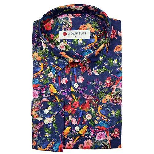 Overhemd Getailleerd Heren.Kleurrijk Overhemd Heren Floral Parrots Heeft Prachtige Print Met