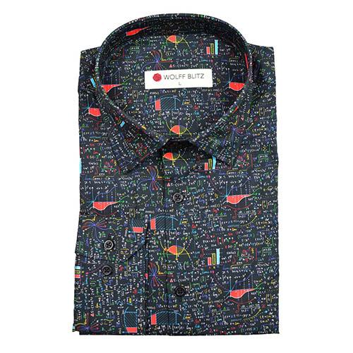 Overhemd Mannen.Print Overhemd Colorful Math Voor Mannen Is Een Kleurrijke Rekenprint
