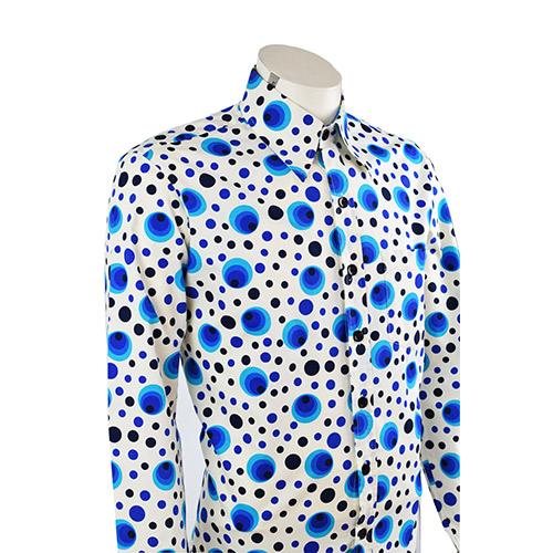 Overhemd Print.Retro Overhemd Met Bolletjes Print Valt Op Door Het Mooie Blauw Van De Bollen