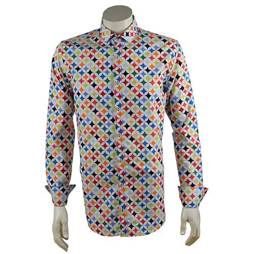 Overhemd Print.Retro Overhemd Met Print Voor Mannen In Kleurrijke Sterren Print