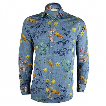 Bloemen Overhemd.Bloemen Print Overhemd Floral Seasons Is Een Blauw Modern Fit Overhemd