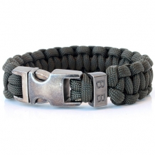 Stoere armband heren Steel & Cord Army Green