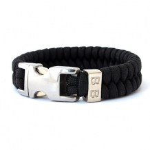 Paracord armband Steel & Cord Black